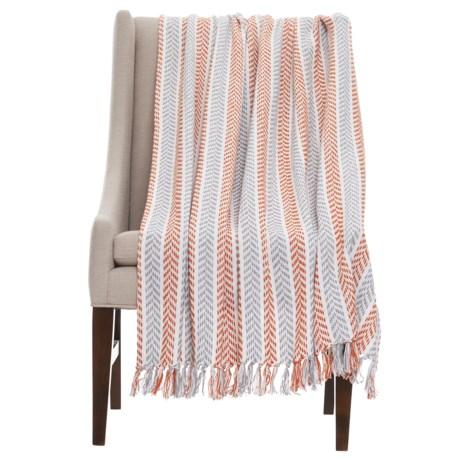 """LR Resources Resources Cotton Throw Blanket - 50x60"""" in Orange/Grey"""