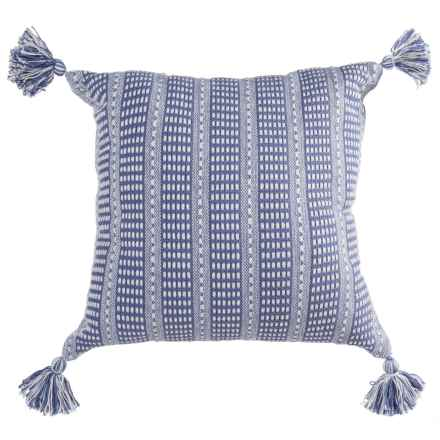 """LR Resources Striped Tasseled Throw Pillow - 18x18"""" in Blue - Closeouts"""