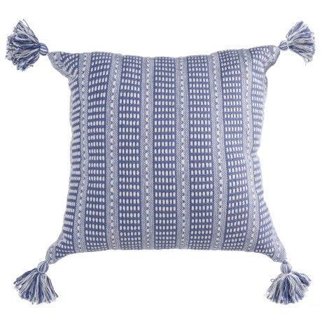 """LR Resources Striped Tasseled Throw Pillow - 18x18"""" in Blue"""