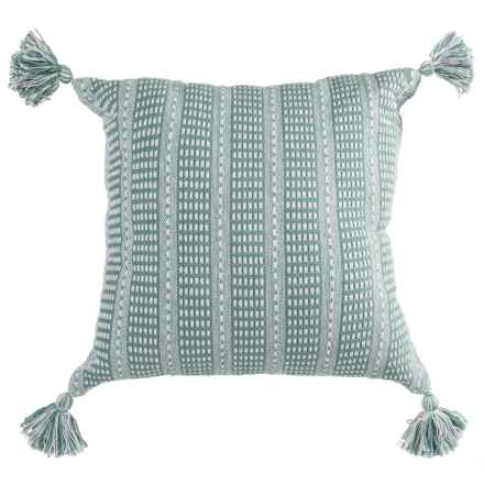 "LR Resources Striped Tasseled Throw Pillow - 18x18"" in Cream/Teal - Closeouts"