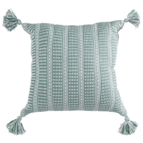 "LR Resources Striped Tasseled Throw Pillow - 18x18"" in Cream/Teal"