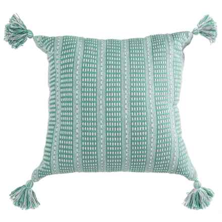 "LR Resources Striped Tasseled Throw Pillow - 18x18"" in Teal/Cream - Closeouts"
