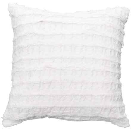 "LR Resources White Stripe Tufted Decor Pillow - 18x18"" in White - Closeouts"