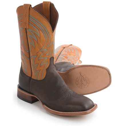 Lucchese 1883 Alan Smooth Leather Cowboy Boots - Square Toe (For Men) in Dark Brown - Closeouts