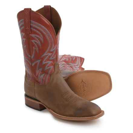 Lucchese 1883 Alan Smooth Leather Cowboy Boots - Square Toe (For Men) in Tan/Tan - Closeouts