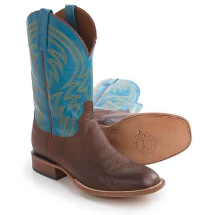 Lucchese 1883 Alan Smooth Leather Cowboy Boots - Square Toe (For Men) in Tan/Turquoise - Closeouts