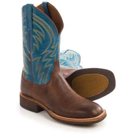 "Lucchese Alan Cowboy Boots - 12"", Square Toe (For Men) in Cognac - Closeouts"