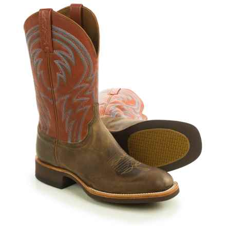 "Lucchese Alan Cowboy Boots - 12"", Square Toe (For Men) in Tan - Closeouts"