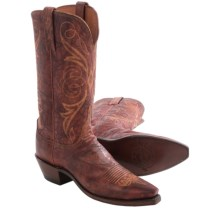 Lucchese Arizona Cowboy Boots - Leather, Snip Toe (For Women) in Cognac - Closeouts