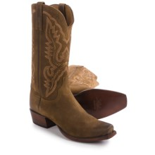 Lucchese Austin Comanche Calfskin Cowboy Boots - Oil Suede (For Men) in Olive - Closeouts
