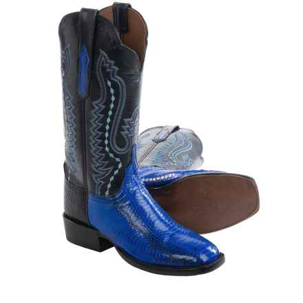 Lucchese Back Cut Cowboy Boots - Snake, Goat Leather (For Women) in Blue/Navy - Closeouts