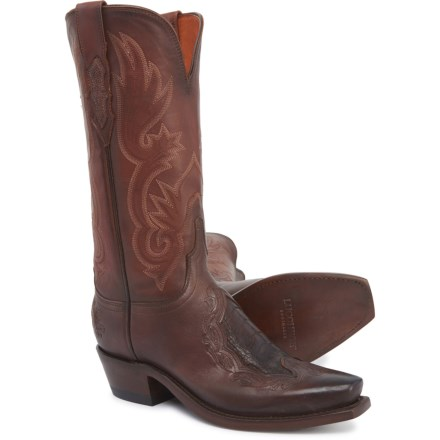 5a1510673 Lucchese Beatrice Cowboy Boots - Cowhide Leather, Snip Toe (For Women) in  Chocolate
