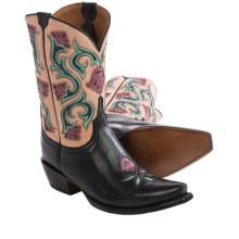 Lucchese Belle Flower Cowboy Boots - Leather, Snip Toe (For Women) in Black - Closeouts