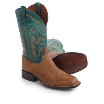 Lucchese Burt Ostrich Cowboy Boots - Wide Square Toe (For Men) in Tan - Closeouts