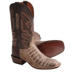 Lucchese Caiman Belly Leather Cowboy Boots - W Toe (For Men) in Gold Brown