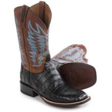 Lucchese Caiman Belly Tail Cowboy Boots - W-Toe (For Men) in Black - Closeouts