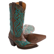 Lucchese Caledonia Embroidered Overlay Cowboy Boots - Leather, Snip Toe (For Women) in Espresso - Closeouts