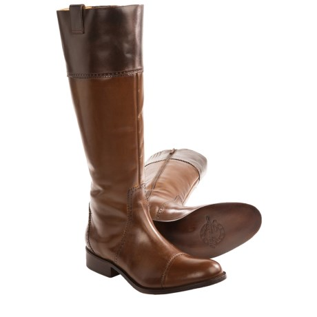 Lucchese Collared English Riding Boots - Leather (For Women) in Tan/Mahogany
