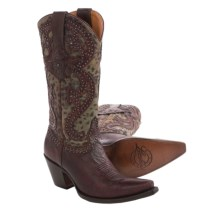 Lucchese Cowboy Boots - Leather, Snip Toe (For Women) in Red/Grey Cheetah - Closeouts