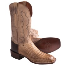 Lucchese Croc Belly and Calf Leather Western Boots - W-Toe (For Men) in Old Nugget - Closeouts