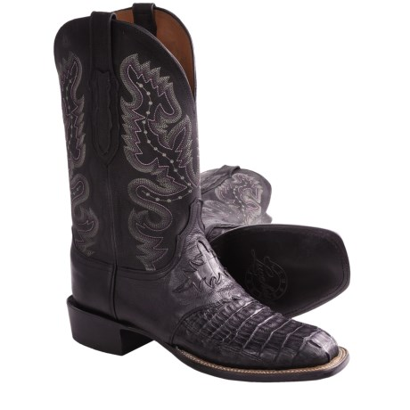 Lucchese Crocodile Tail Western Boots - Leather, W-Square Toe (For Men) in Black Waxy