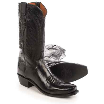 """Lucchese Eli Buffalo Cowboy Boots - 13"""", J-Toe (For Men) in Black - Closeouts"""