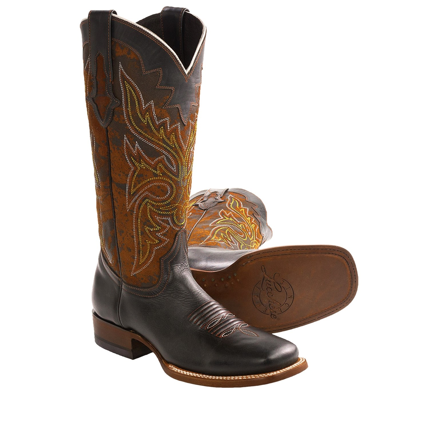 lucchese embroidered calfskin cowboy boots for