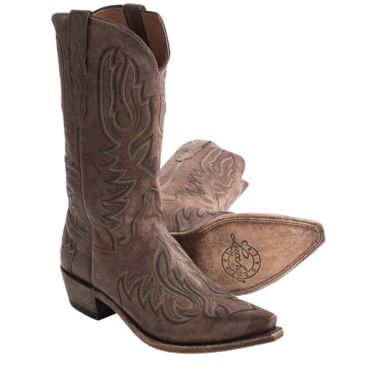 lucchese embroidered sofia goat cowboy boots leather