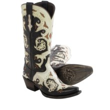 Lucchese Fiona Studded Cowboy Boots - Leather, Snip Toe (For Women) in Black/Natural - Closeouts