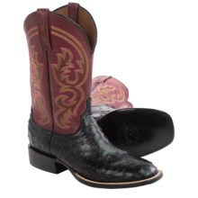 Lucchese Full-Quill Ostrich Cowboy Boots - W-Toe (For Men) in Black - Closeouts