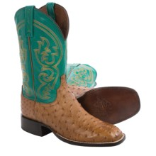 Lucchese Full-Quill Ostrich Cowboy Boots - W-Toe (For Men) in Tan - Closeouts