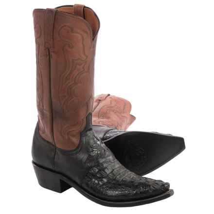 Lucchese Hornback Caiman Cowboy Boots - Snip-Toe (For Men) in Black - Closeouts