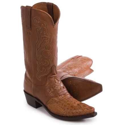 Lucchese Hornback Caiman Cowboy Boots - Snip-Toe (For Men) in Tan - Closeouts