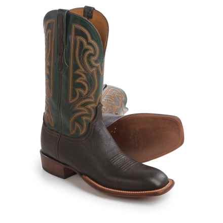 "Lucchese Horseman Cowboy Boots - 12"", Bison Leather, Square Toe (For Men) in Chocolate/Forest Green - Closeouts"