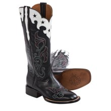 Lucchese Jenna Cowboy Boots - Leather, Square Toe (For Women) in Black - Closeouts