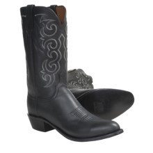 Lucchese Jersey Calf Cowboy Boots - R4-Toe (For Men) in Black Burnished - Closeouts