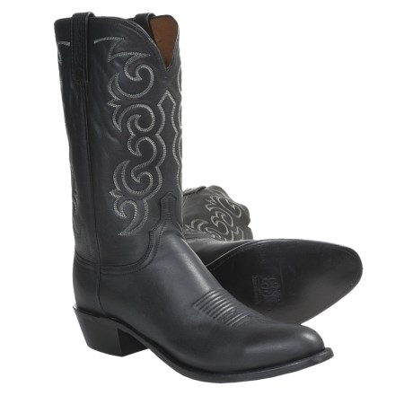 Lucchese Jersey Calf Cowboy Boots - R4-Toe (For Men) in Black Burnished