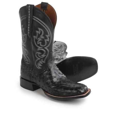 "Lucchese Josh Cowboy Boots - 12"", Full-Quill Ostrich Leather, Square Toe (For Men) in Black - Closeouts"