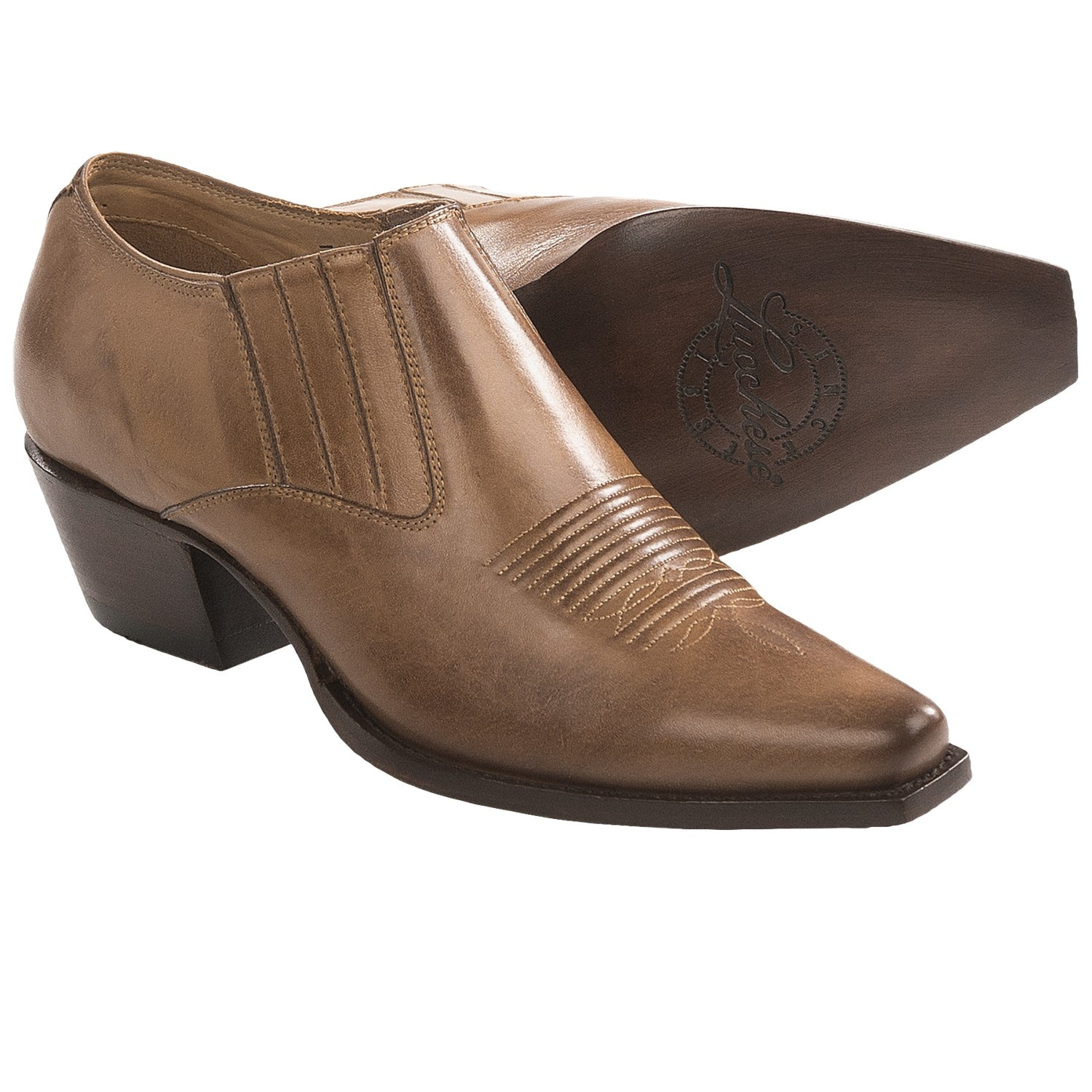 lucchese leather western shoes slip ons for