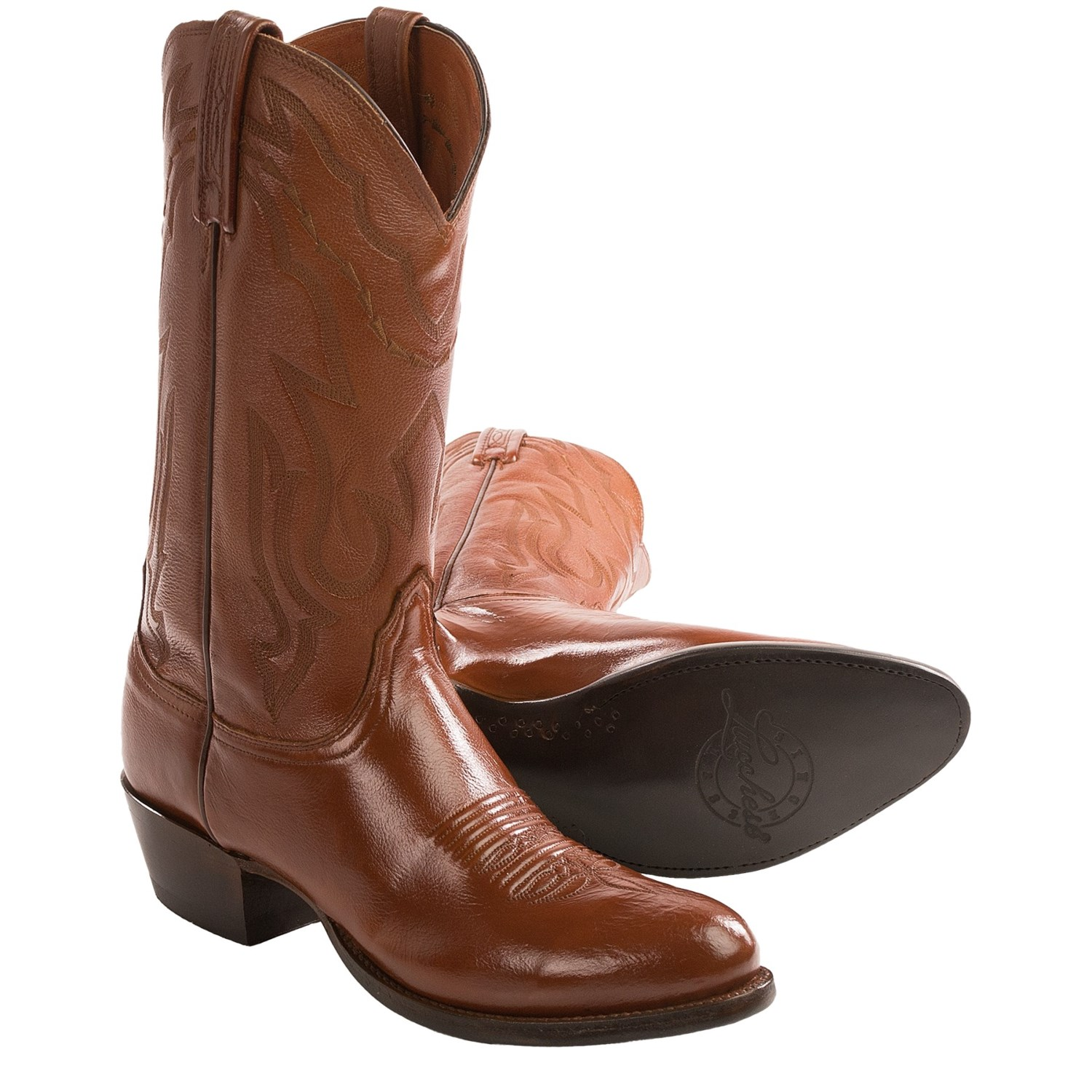 lucchese lone cowboy boots leather toe for