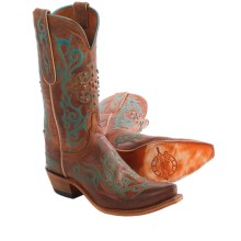 Lucchese Mad Dog Goat Cowboy Boots - Goat Leather (For Women) in Peanut Brittle Burnished - Closeouts