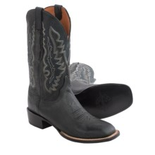 Lucchese Marsh Goat Leather Cowboy Boots - Square Toe (For Men) in Anthracite - Closeouts