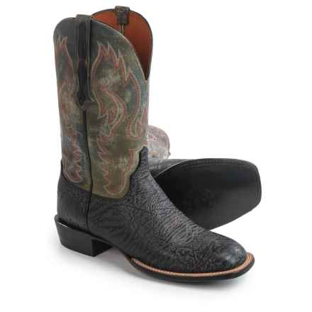 "Lucchese Miller Cowboy Boots - 12"", Bison Leather, Square Toe (For Men) in Black/Sage - Closeouts"