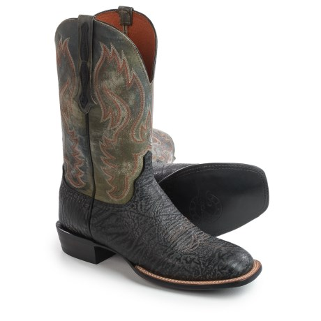 """Lucchese Miller Cowboy Boots - 12"""", Bison Leather, Square Toe (For Men)"""