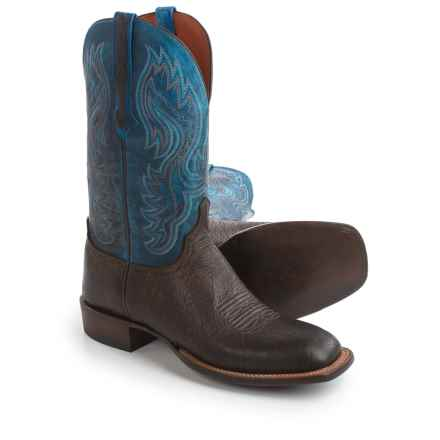 "Lucchese Miller Cowboy Boots - 12"", Bison Leather, Square Toe (For Men) in Chocolate/Nova Blue - Closeouts"