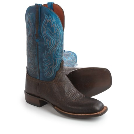 "Lucchese Miller Cowboy Boots - 12"", Bison Leather, Square Toe (For Men) in Chocolate/Nova Blue"