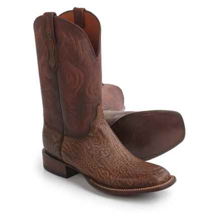 "Lucchese Miller Cowboy Boots - 12"", Bison Leather, Square Toe (For Men) in Cognac - Closeouts"