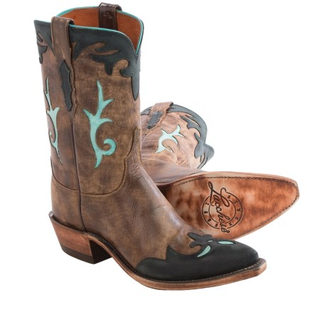 Lucchese Molly Buffalo Cowboy Boots - Leather, Pointed Toe (For Women) in Destroyed Antique Brown
