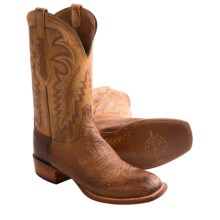 Lucchese Ostrich Leather Cowboy Boots - Square Toe (For Men) in Barnwood Brown - Closeouts