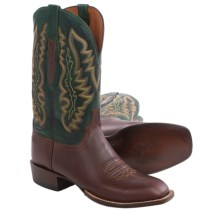 Lucchese Ranch Hand Cowboy Boots - Square Toe, Leather (For Men) in Tan/Green - Closeouts